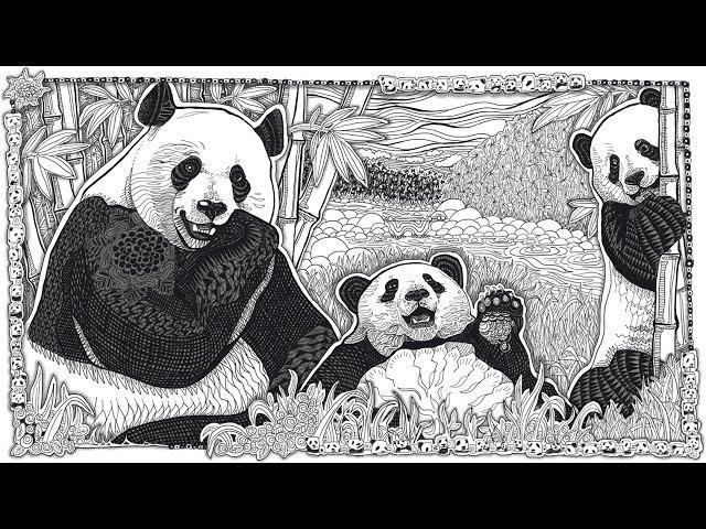 Panda Doodle Time Lapse with Printable Coloring Page